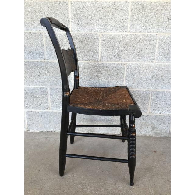 1940s L. Hitchcock Rush Bottom Bolster Turtle Back Side Chair For Sale In Philadelphia - Image 6 of 10