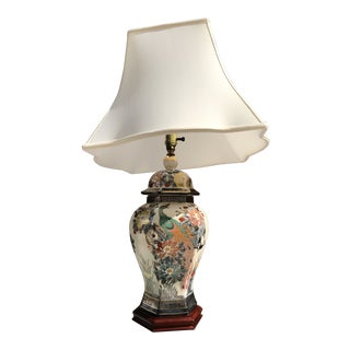 Hand Painted Chinoiserie Ginger Jar Lamp and Shade by Knob Creek For Sale