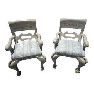 1980s Vintage Tessellated Stone Swan Regent Arm Chairs- a Pair For Sale