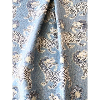 Tibet Blue Tiger Woven Jacquard Fabric 1 Yard For Sale