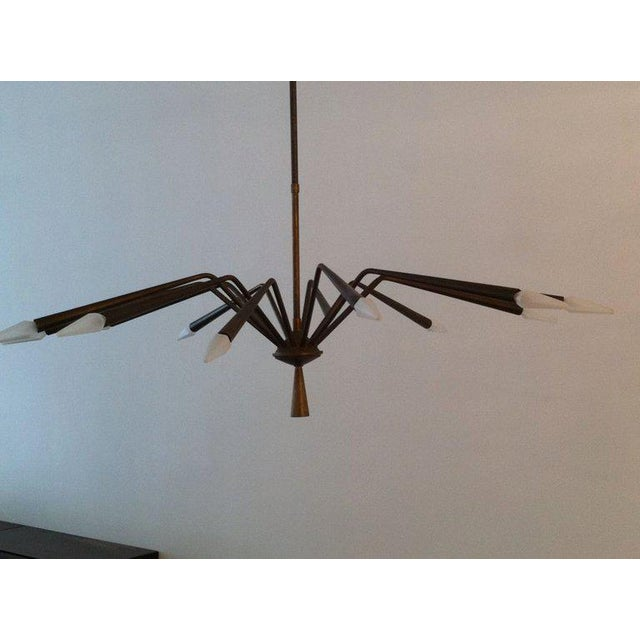 Italian 1960s Oscar Torlasco for Lumi Futurist Brass Sputnik Chandelier For Sale - Image 3 of 10