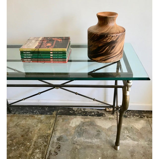 1970s Vintage Glass and Brass Italian Console Table with Seahorse Motif For Sale - Image 5 of 8