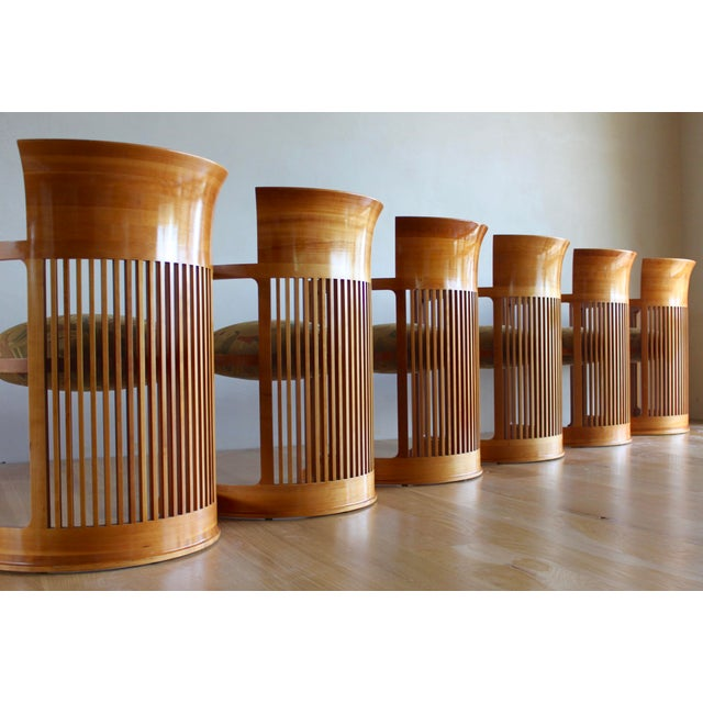 Vintage 1986 Frank Lloyd Wright for Cassina Taliesin 606 Barrel Chairs - Set of 6 For Sale In San Diego - Image 6 of 13