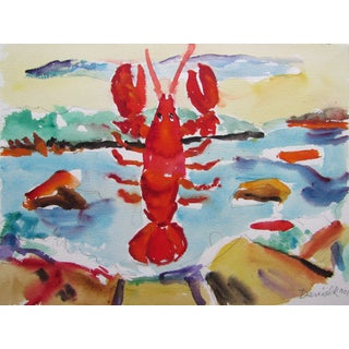 Lobster in Maine Watercolor by George Daniell