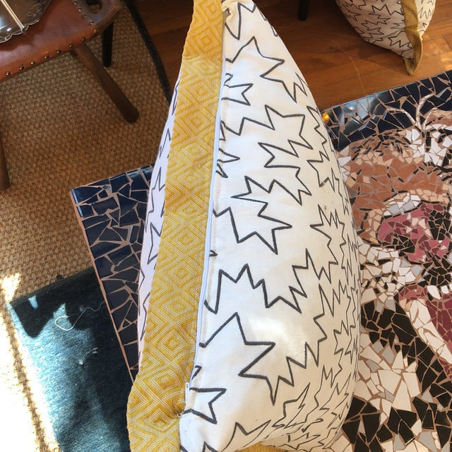 Jim Thompson Embroidered White Linen Pillows- 2 pc. For Sale In Atlanta - Image 6 of 8