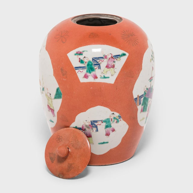 1920s Chinese Persimmon Ovoid Ginger Jar With Cartouche Paintings For Sale - Image 5 of 7
