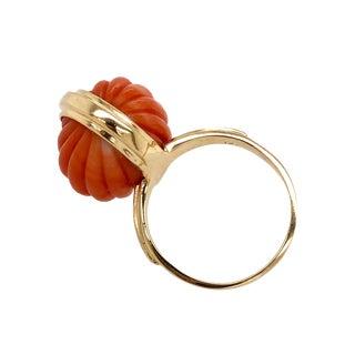 Vintage 14k Gold Carved Coral Cocktail Ring For Sale
