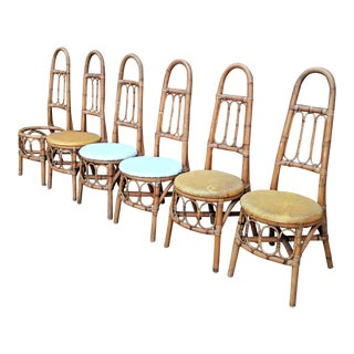 Boho Chic High Back Rattan Dining Chairs - Set of 6 For Sale