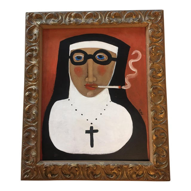 """Rose Walton """"Smoking Nun"""" Original Painting For Sale"""
