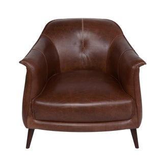 Chestnut Leather Gum Drop Chair For Sale
