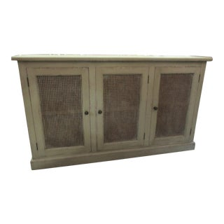 Sideboard Credenza With Cane Inlaid Doors Soft Gray Green Color