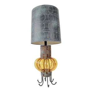 Mid-Century Custom Caged Glass Lamp and Shade For Sale