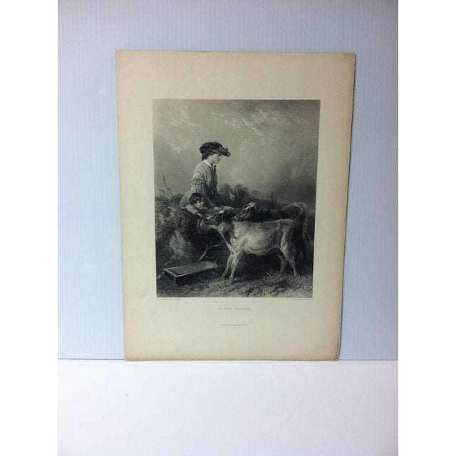 """Late 19th Century Antique Print on Paper, """"In the Pasture"""" by C. Cousen, Circa 1880 For Sale - Image 5 of 5"""