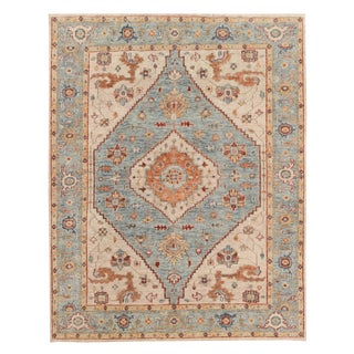 "Hand-Knotted Traditional Wool Blue and Beige Rug - 8'7""x11'4"" For Sale"