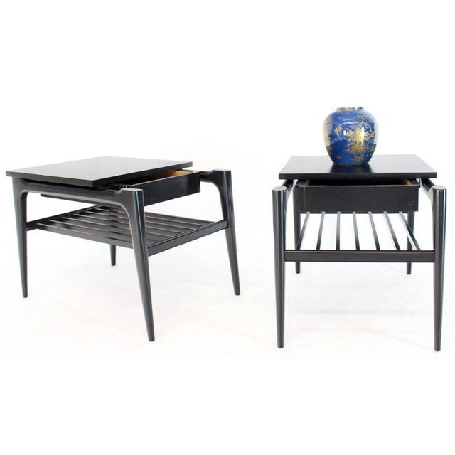 Pair of Black Ebonised One Drawer End Nightstands With Magazine Rack Sculptural For Sale - Image 9 of 13
