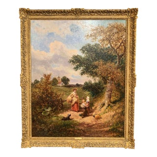 """19th Century English Oil Painting """"The Gleaners"""" Signed J. E. Meadows Dated 1874 For Sale"""