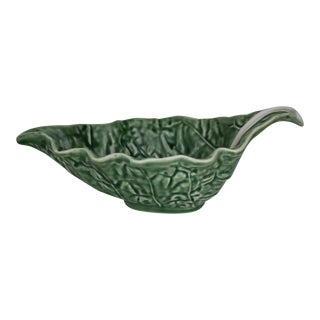 Majolica Style Gravy Boat Cabbage Green Pattern by Bordallo Pinheiro
