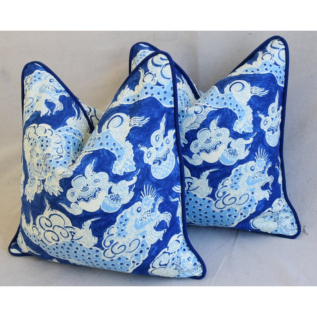 "White Blue & White Chinoiserie Dragon Feather/Down Pillows 22"" Square - Pair For Sale - Image 8 of 12"