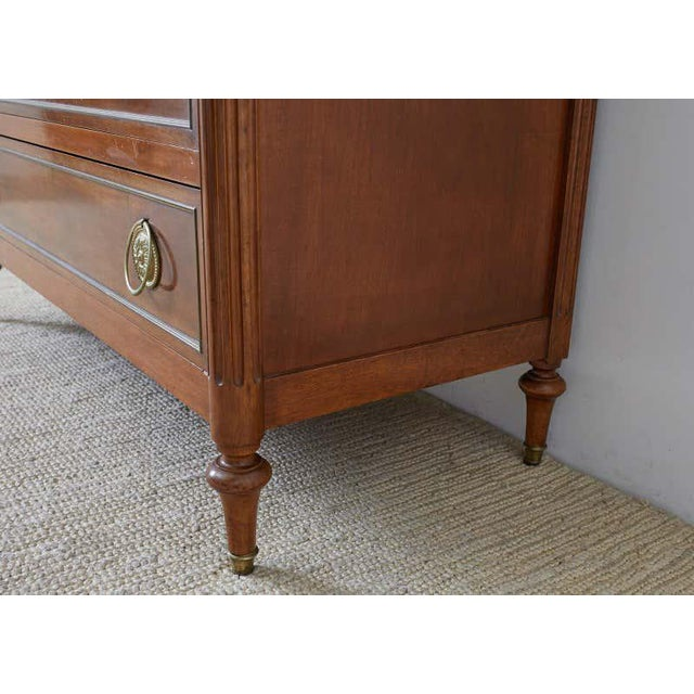 Brown Pair of Louis XVI Style Marble Top Commodes or Dressers For Sale - Image 8 of 13