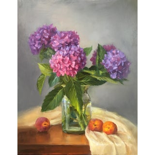 """""""Hydrangeas and Peaches"""" Original Oil Painting. For Sale"""