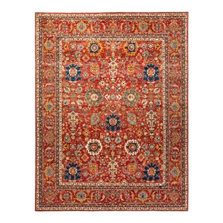One-Of-A-Kind Oriental Serapi Hand-Knotted Area Rug, Crimson, 9' 0 X 11' 7 For Sale