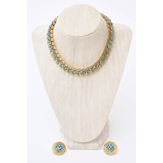 Trifari Signed Trifari Choker and Pair of Matching Clip on Earring Set For Sale - Image 4 of 11
