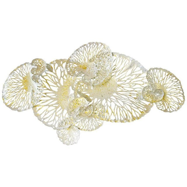 White and Gold Lotus Iron Wall Sculpture by Fabio Ltd For Sale In Palm Springs - Image 6 of 6