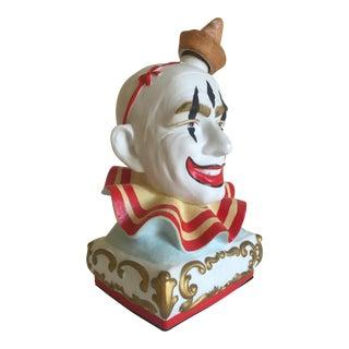 Vintage Mid-Century Ceramic Clown Head Bottle For Sale