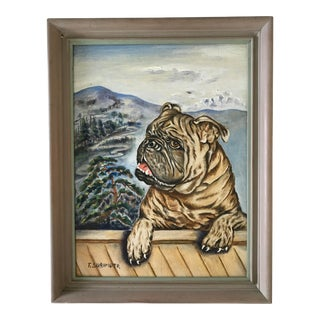Vintage Mid Century Pug Painting by T. Sugimoto For Sale