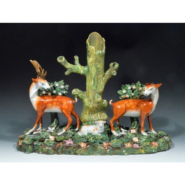 English Traditional Staffordshire Pearlware Deer & Doe Removable Large Deer Park Spill Vase Group For Sale - Image 3 of 5