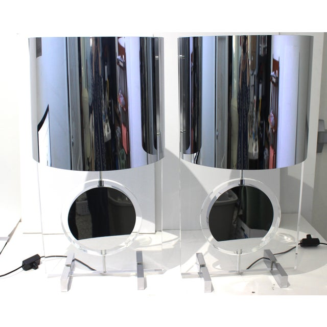 Chrome Vintage Karl Springer Attributed Table Lamps Rotating Discs Lucite Chrome - a Pair For Sale - Image 8 of 11