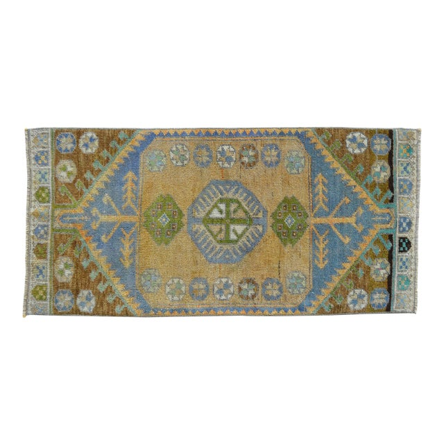 Hand Knotted Door Mat, Entryway Rug, Bath Mat, Kitchen Decor, Small Rug, Turkish Rug - 1′7″ × 3′4″ For Sale