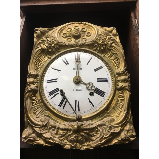 Antique French Hand Painted Brass Repoussé Grandfather Clock For Sale - Image 4 of 13