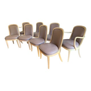 Donghia Leather Dining Chairs - Set of 8 For Sale
