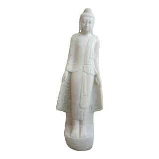 Vintage Standing Buddha Mandalay Style in Carved White Marble For Sale