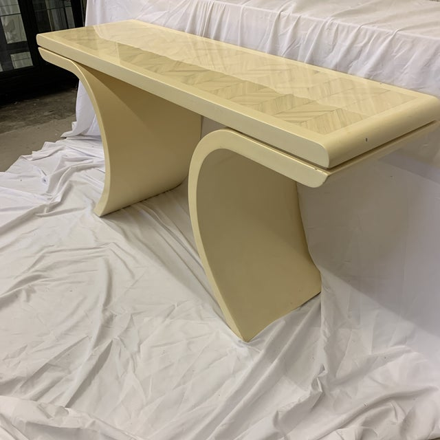 Not your typical Goatskin console. Check out the herringbone pattern on top! Very unique! Very good condition with a...