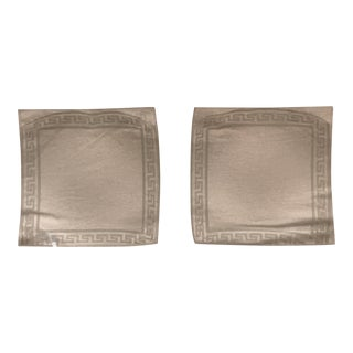 Versace Style Etched Glass & Greek Key Trays - a Pair For Sale