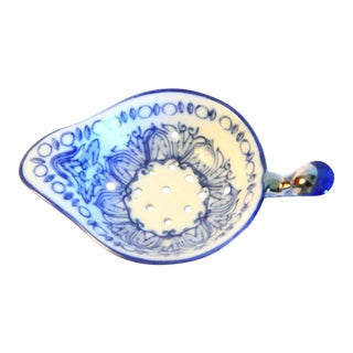 Blue and White Porcelain Tea Strainer For Sale