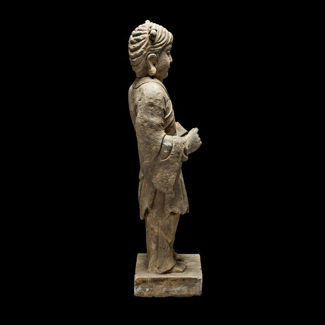 Asian Pair of Stone Sculptures of Children at Play For Sale - Image 3 of 8