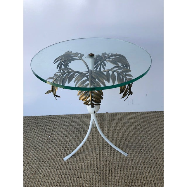 Gold 1960s Hollywood Regency Palm Tree Side Table For Sale - Image 8 of 8
