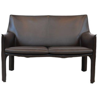 Exquisite Mario Bellini Design Leather Cab Love Seat by Cassina, Italy For Sale