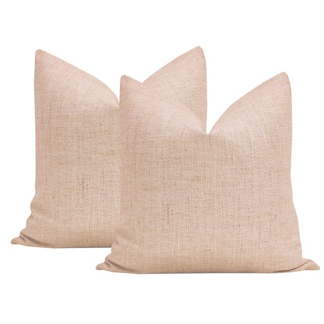 """Not Yet Made - Made To Order 22"""" Metallic Linen Rose Gold Pillows - a Pair For Sale - Image 5 of 5"""