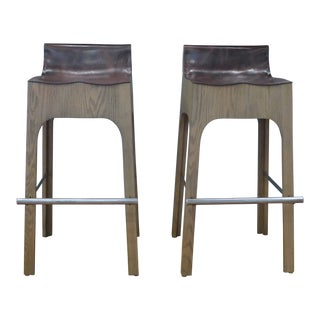 Modern Lee Industries Reclaimed Leather Bar Stools- A Pair For Sale