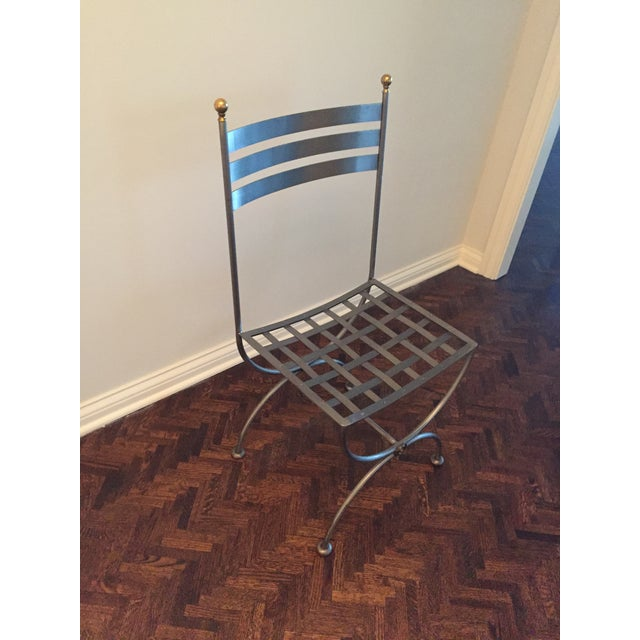 Campaign Brass & Iron Savonarola Side Chair For Sale - Image 3 of 9