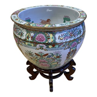 Antique Medium Hand Painted Rose Medallion Porcelain Bowl + Wood Stand For Sale