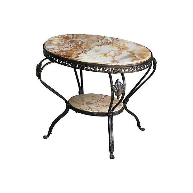Antique French Bronze & Marble 2 Tier Accent Table - Image 6 of 6
