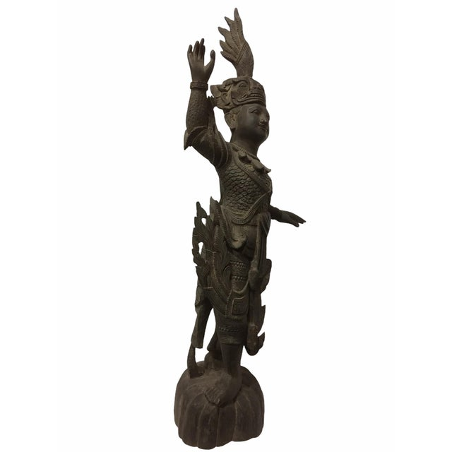 Rare Ornately Carved Khamphi Rosewood Burmese Temple Guardian Antique Statue Stunning Detail