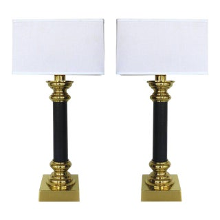 Fine Quality Stiffel Brass and Leather Classical Column Table Lamps - A Pair For Sale