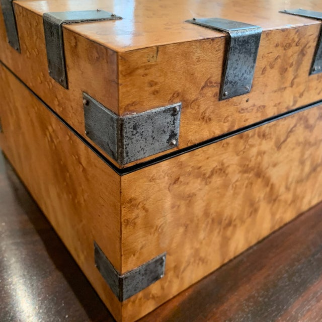 Large, Antique Maple and Steel Antique Wood Box For Sale - Image 4 of 7