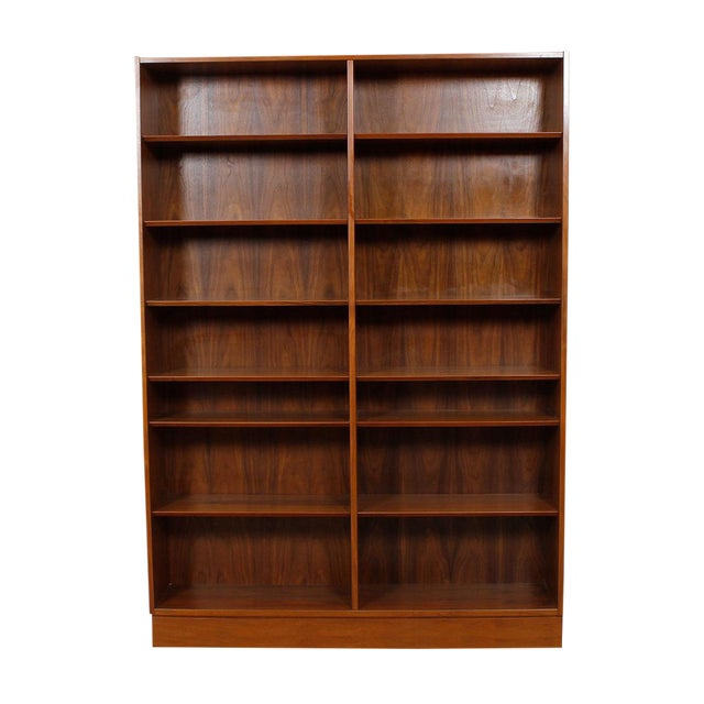 Danish Modern Double Bookcase with Adjustable Shelves in Walnut - Image 1 of 7
